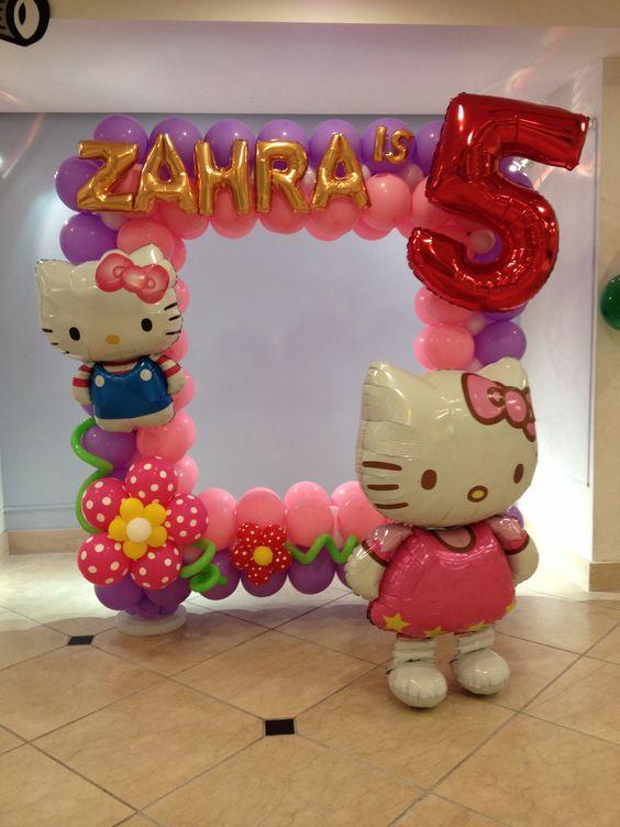 marcos de globos de cumpleaños de hello kitty