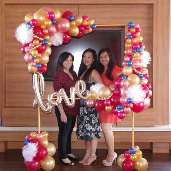marcos de globos de cumpleaños para mujeres