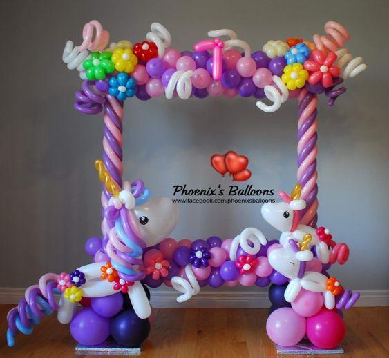 marcos de globos para fiestas de niña tema de unicornio