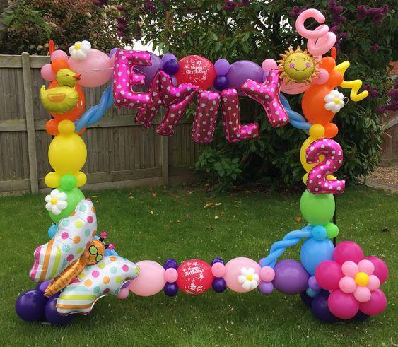 marcos de globos para fiestas de niña