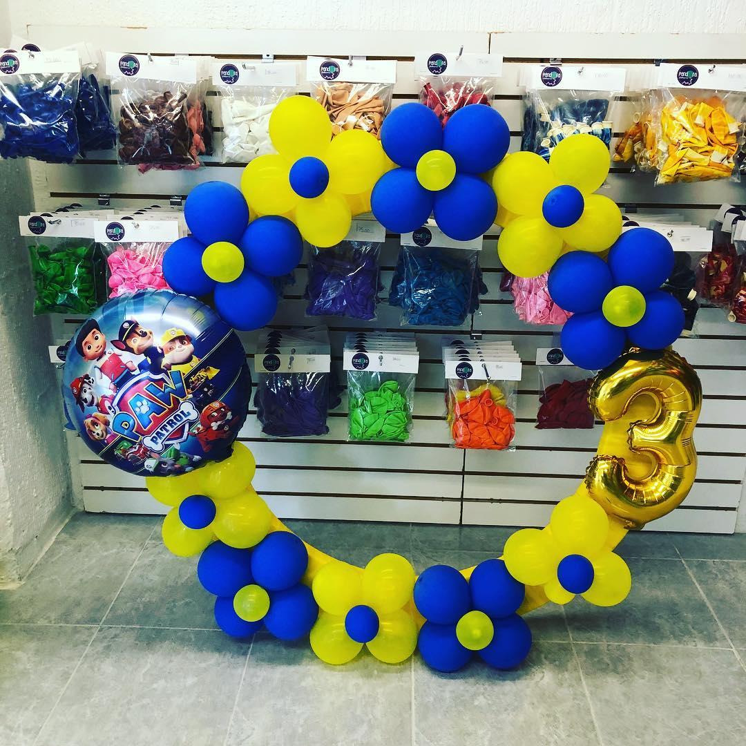 marcos de globos para fiestas de paw patrol