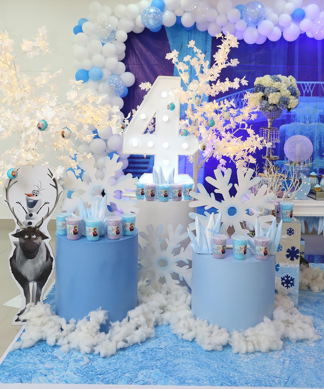 mesa de dulces para fiesta de frozen