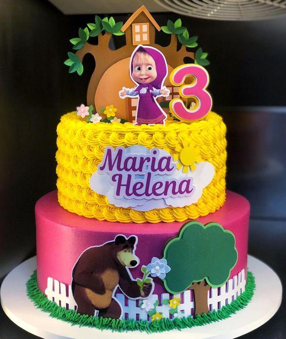 pastel para fiesta de cumpleaños de Masha y el Oso