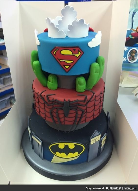 pastel para fiesta infantil de super heroes