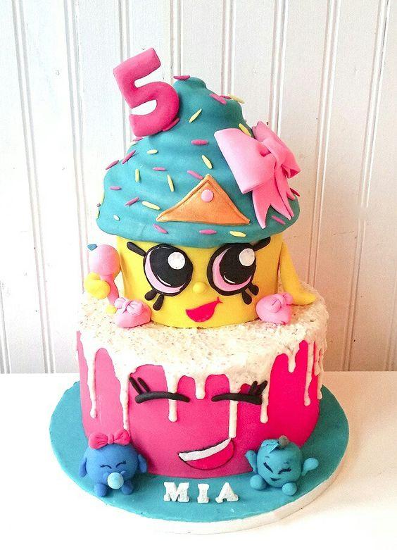 pastel para fiesta tematica de shopkins