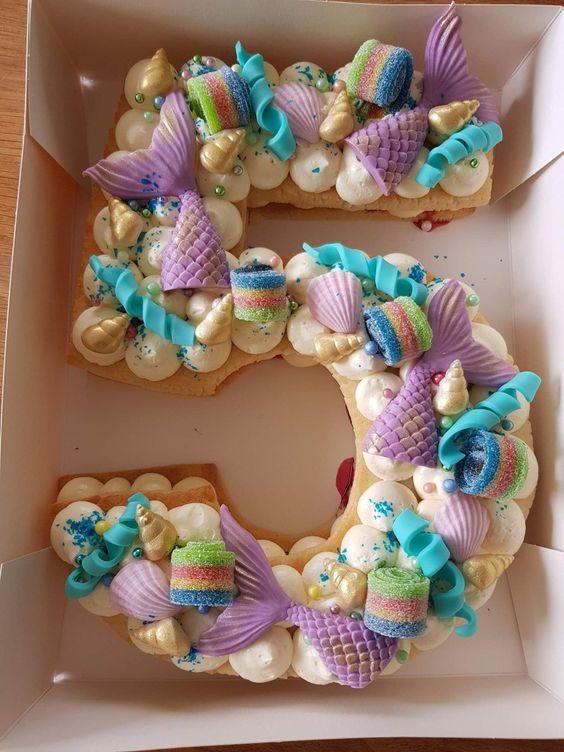 pasteles modernos para fiestas infantiles de numeros para niñas