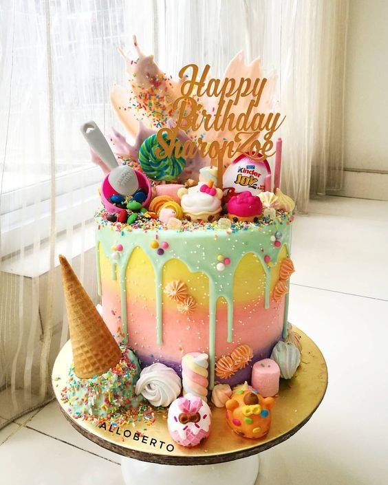 pasteles modernos para fiestas infantiles drip cakes