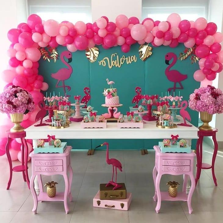 decoracion de fiestas para verano de flamingos