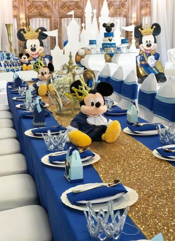 Centros de mesa para cumpleaños de Mickey Mouse príncipe