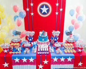 Decoracion para fiesta de capitan america