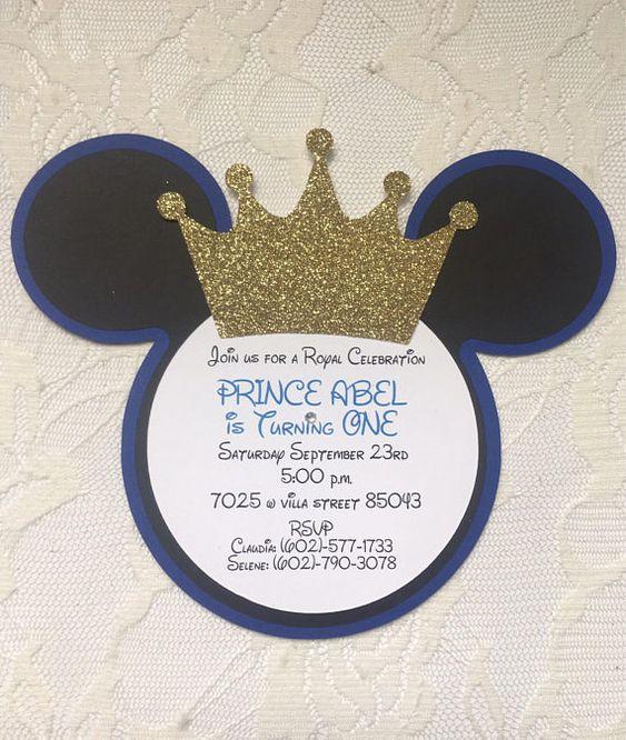 Invitaciones para Fiesta de Mickey Mouse príncipe