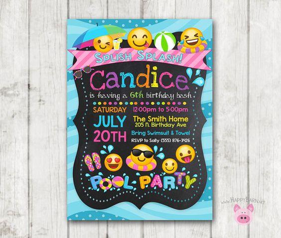 Invitaciones para Fiestas tematicas de Emoji