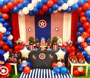 Decoracion para fiesta de capitán américa