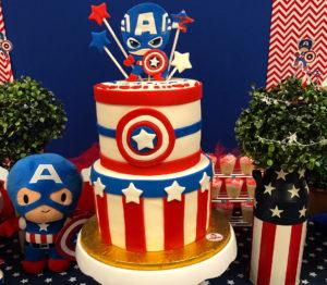 Pastel para fiesta del capitán américa