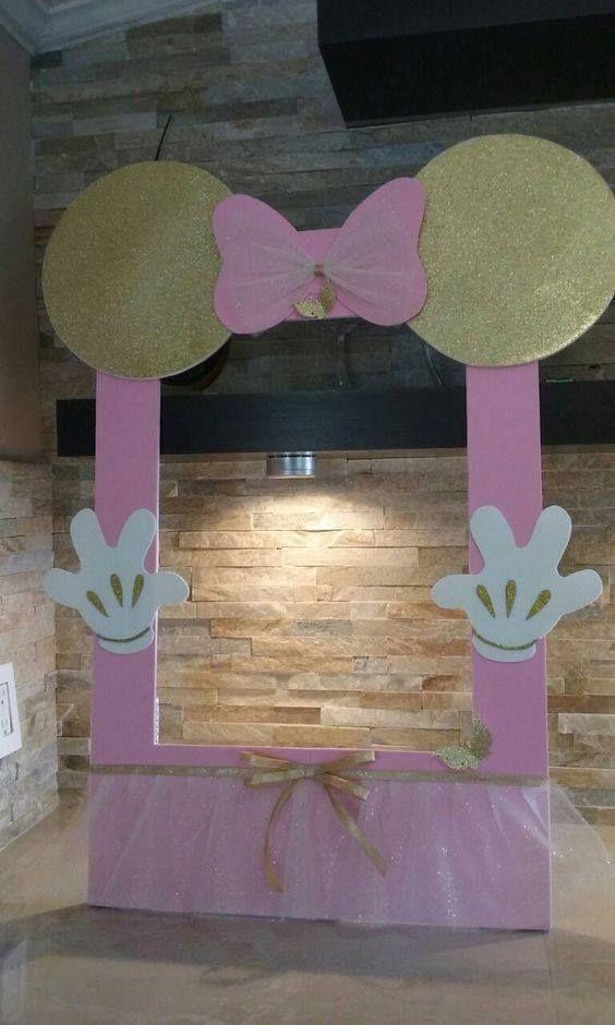 Backdrops para Fiesta de minnie mouse rosa y dorado