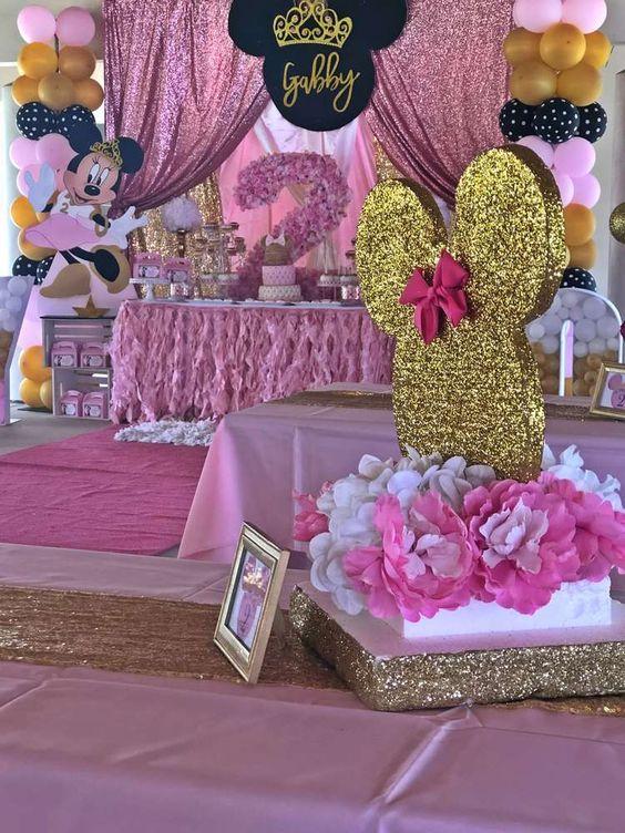 Centros de mesa para Fiesta de minnie mouse rosa y dorado
