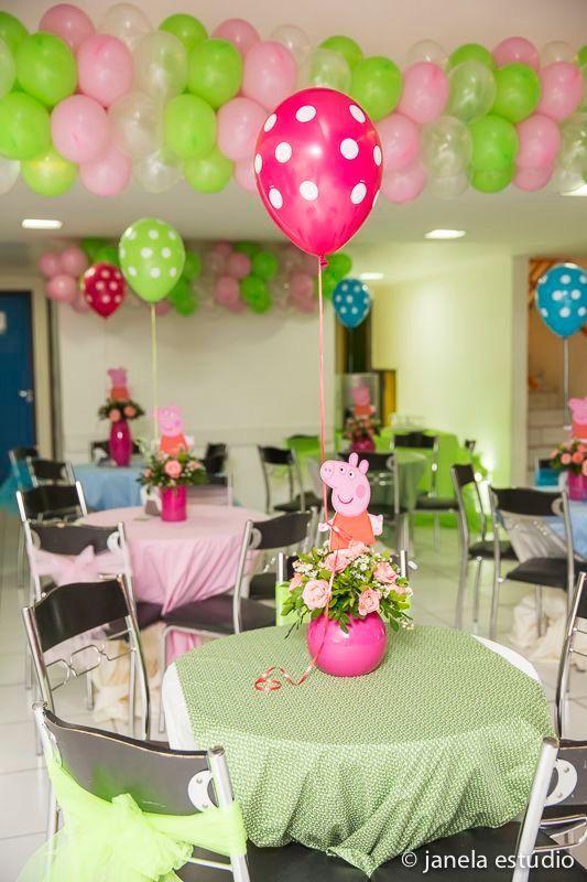 Centros de mesa para Fiesta de peppa pig