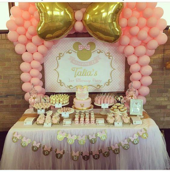 Decoracion Fiesta de minnie mouse rosa y dorado