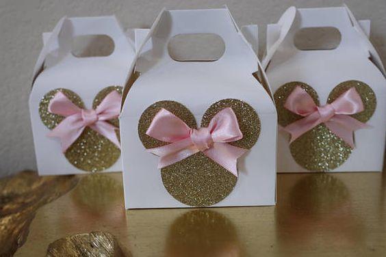 Dulceros para Fiesta de minnie mouse rosa y dorado