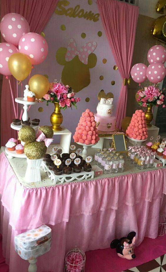 Fiesta de minnie mouse rosa decoración mesa de dulces