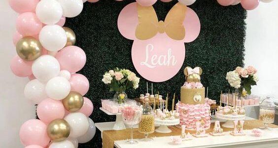 Fiesta de minnie mouse rosa y dorado