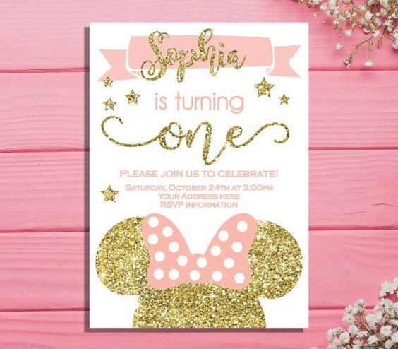 Invitaciones de minnie rosa con dorado