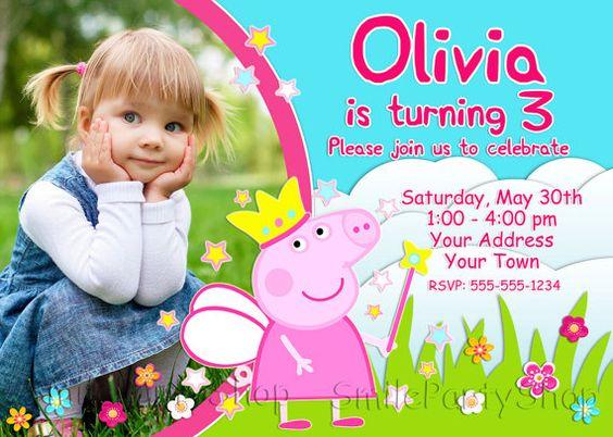 Invitaciones para Fiesta infantil de peppa pig