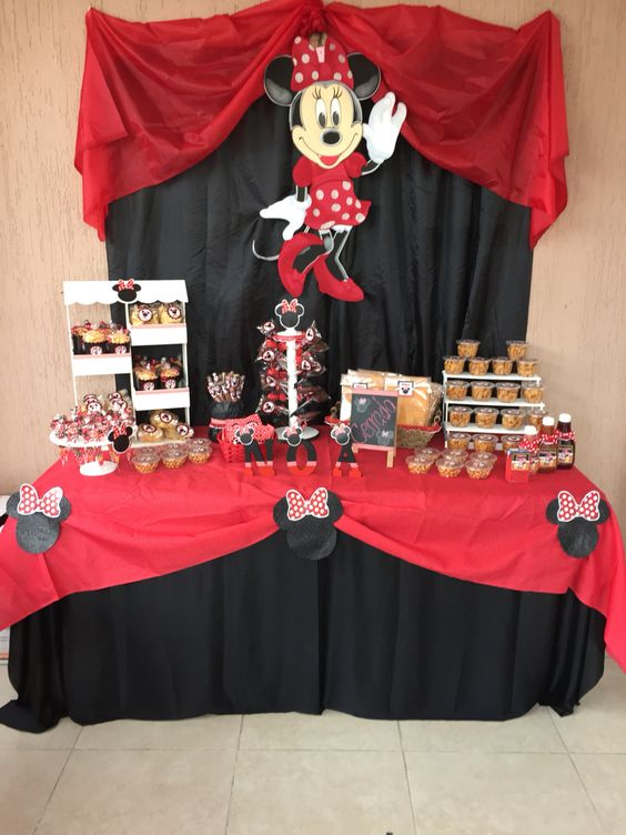 Mesa de dulces para Cumpleaños de Minnie Roja