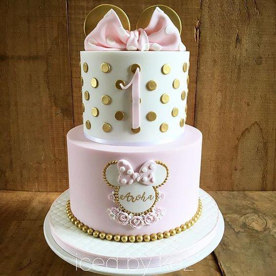 Pastel minnie mouse dorado y rosa