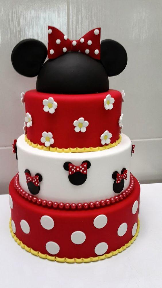 Pastel para Fiesta temática de Minnie mouse Rojo