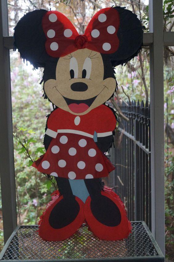 Piñata para Fiesta de Minnie roja