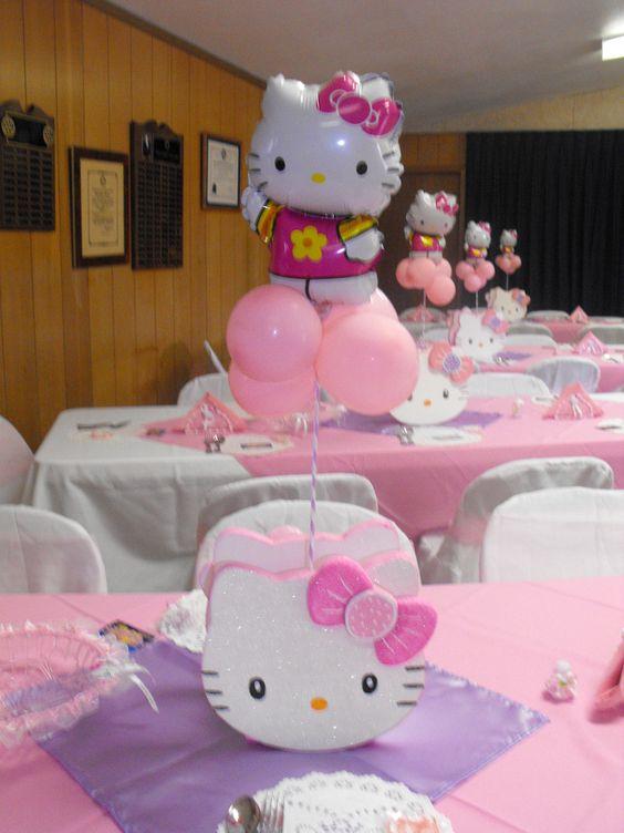 arreglos de hello kitty para fiesta con globos