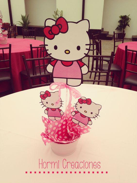 centros de mesa de hello kitty sencillos