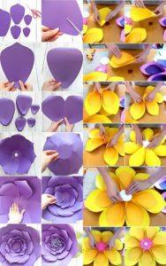 decoracion de fiestas sencillas con flores de papel gigantes