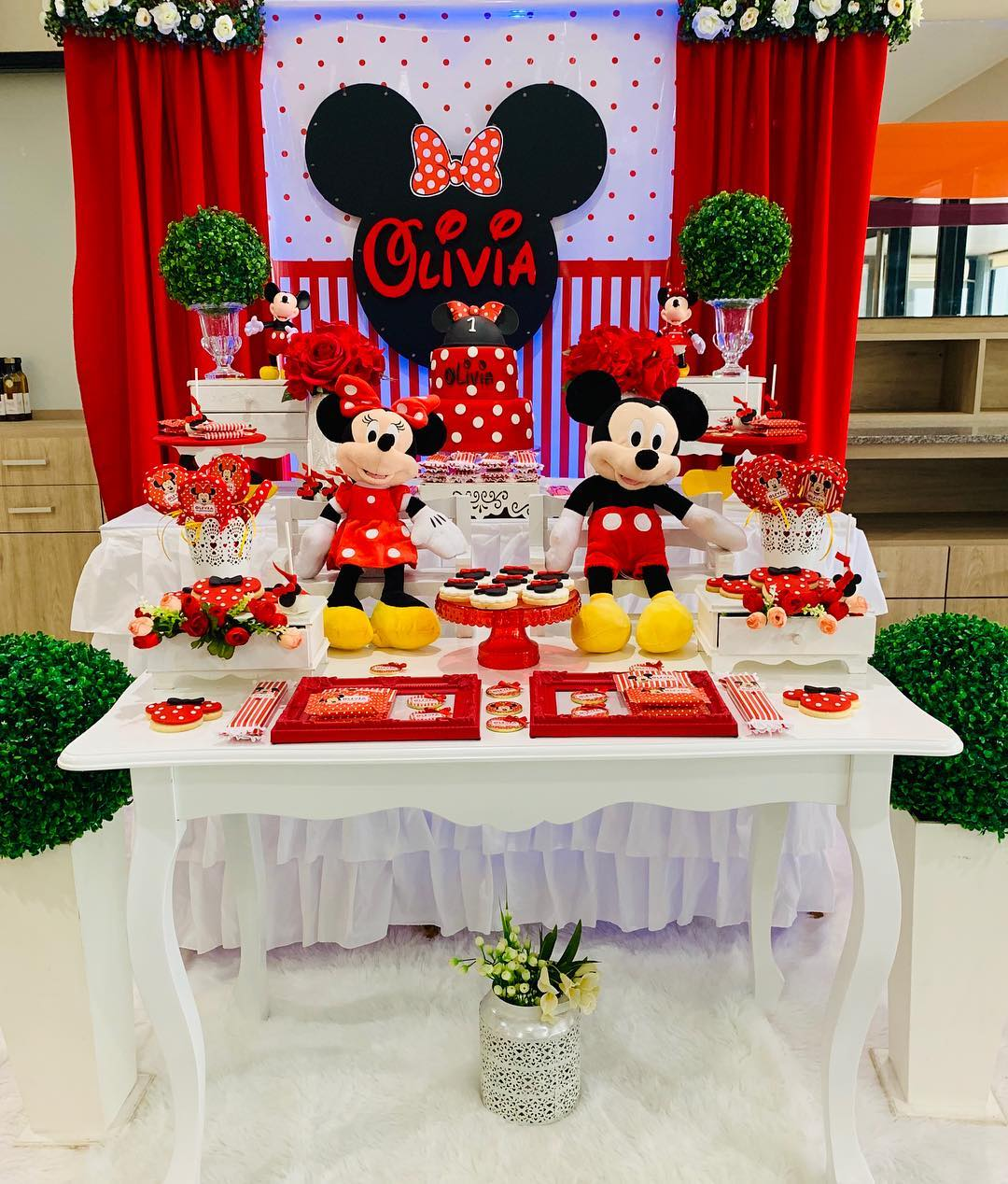 Decoracion mesa de postres minnie mouse rojo