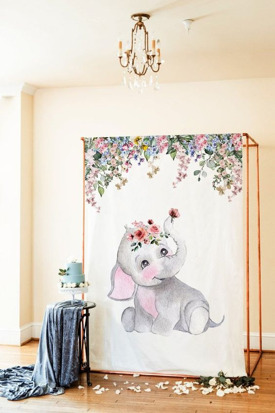 Backdrops para baby shower de niña temático de elefantes