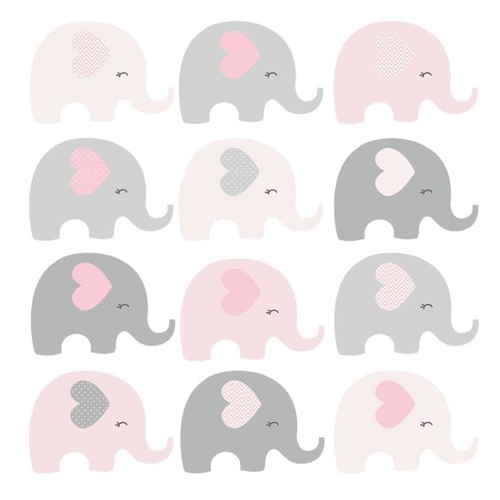 Elefantes para baby shower niña para imprimir