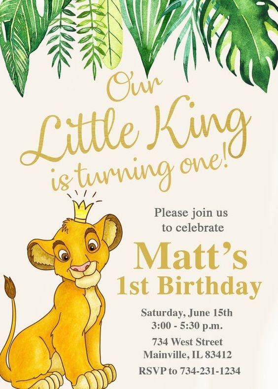 Invitaciones modernas del Rey León