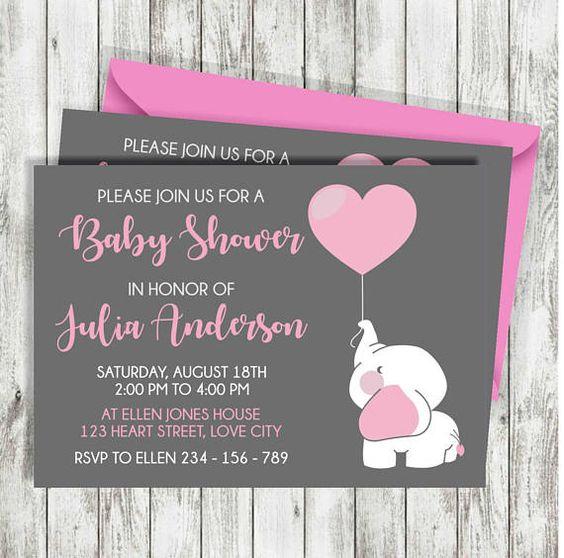 Invitaciones para Baby shower elefante niña