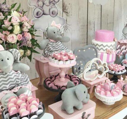 Mesa de dulces para Baby shower elefante niña