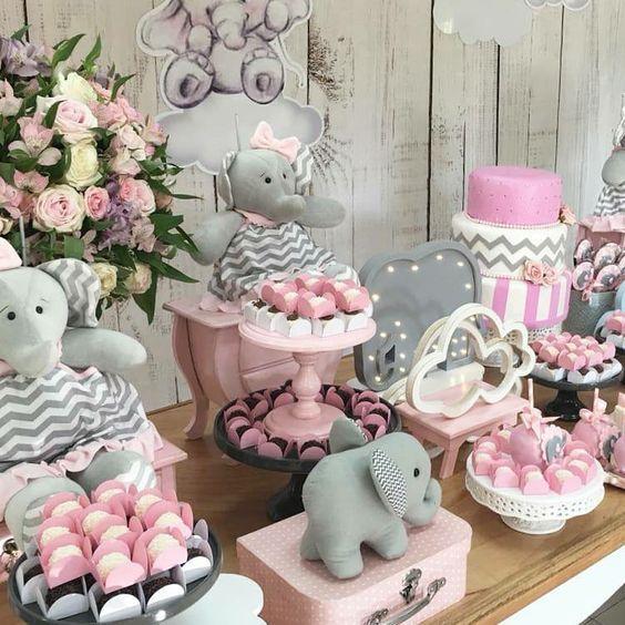 Mesa Principal Baby Shower.Ideas Para Baby Shower De Nina Tematico De Elefantes