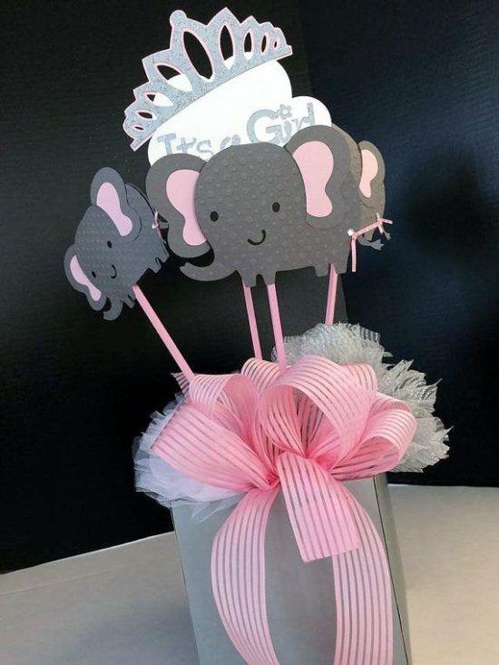 arreglos de baby shower de elefantes