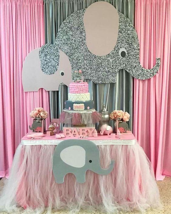 Decoracion Mesa De Baby Shower Nina.Ideas Para Baby Shower De Nina Tematico De Elefantes