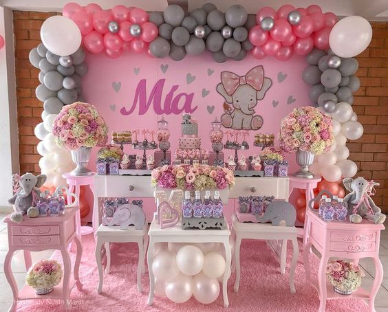 decoracion de elefantes para baby shower niña