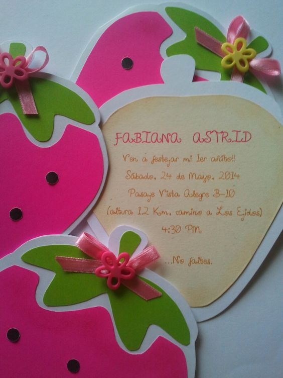 invitaciones de rosita fresita para fiesta infantil