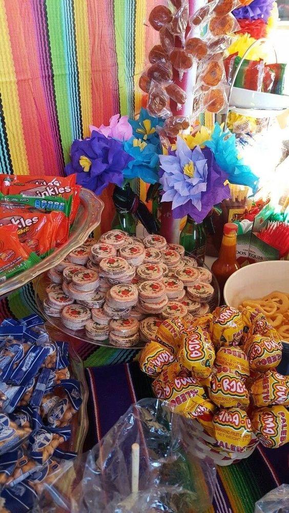 mesa de dulces para un cumpleaños mexicano