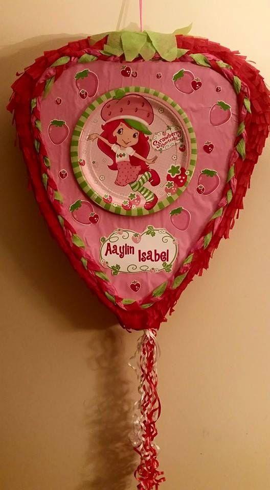 piñatas rosita fresita para el cumpleaños de niña