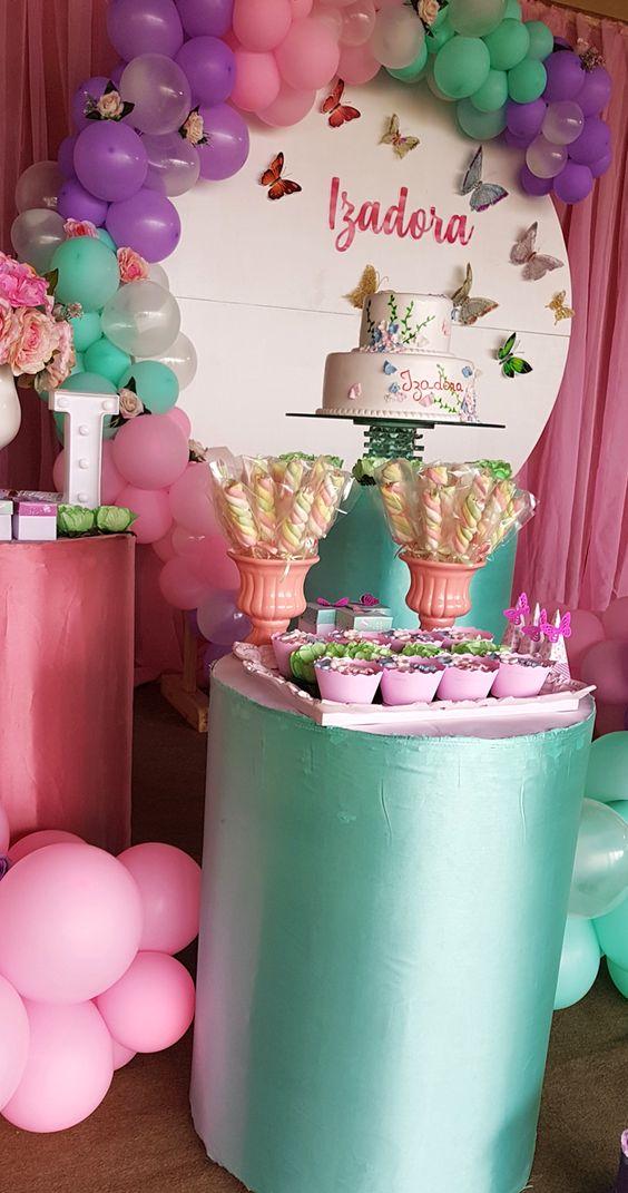 Globos De Cumpleaños Chica Jardín Mariposas Flores Decoración Fiesta Eventos X 6