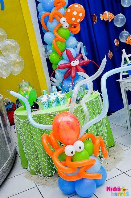 Decoracion con globos fiesta temática del mar