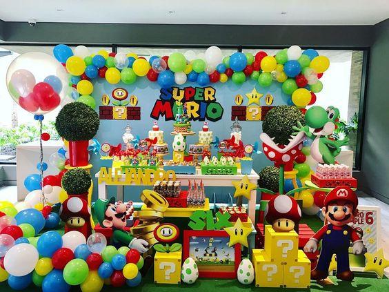 decoracion de fiesta de mario bros baby